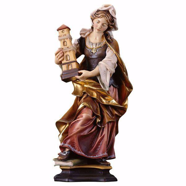 Immagine di Statua Santa Barbara da Nicomedia con torre cm 10 (3,9 inch) dipinta ad olio in legno Val Gardena