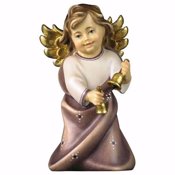 Picture of Guardian Angel with Bells cm 9 (3,5 inch) Val Gardena wooden Sculpture painted with oil colours