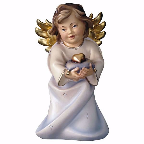 Picture of Guardian Angel with heart cm 9 (3,5 inch) Val Gardena wooden Sculpture painted with oil colours