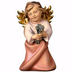 Picture of Guardian Angel with cloverleaf cm 9 (3,5 inch) Val Gardena wooden Sculpture painted with oil colours