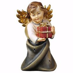 Picture of Guardian Angel with gift cm 9 (3,5 inch) Val Gardena wooden Sculpture painted with oil colours