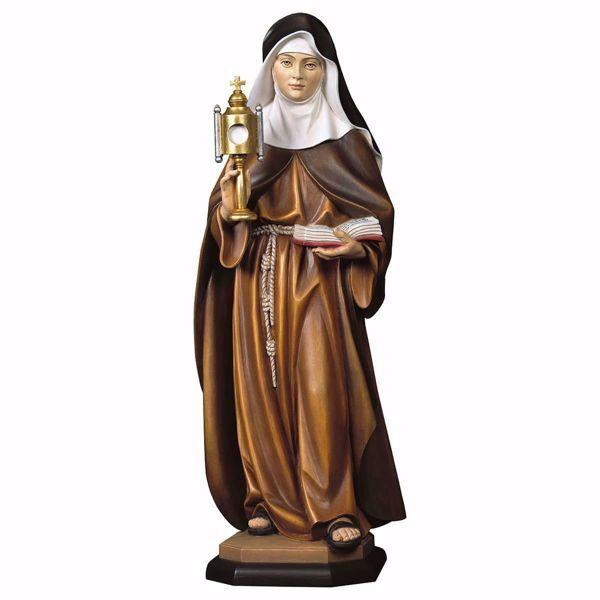 Immagine di Statua Santa Chiara d´Assisi con teca eucaristica cm 100 (39,4 inch) dipinta ad olio in legno Val Gardena