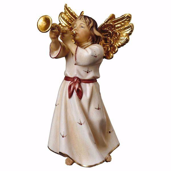 Imagen de Ángel con trompeta cm 10 (3,9 inch) Escultura en madera Val Gardena pintada al óleo
