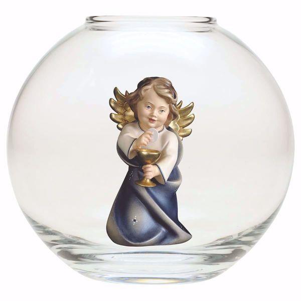 Imagen de Ángel de la Guarda con cáliz en una Bola de vidrio Diam. cm 13 (5,1 inch) Escultura en madera Val Gardena pintada al óleo