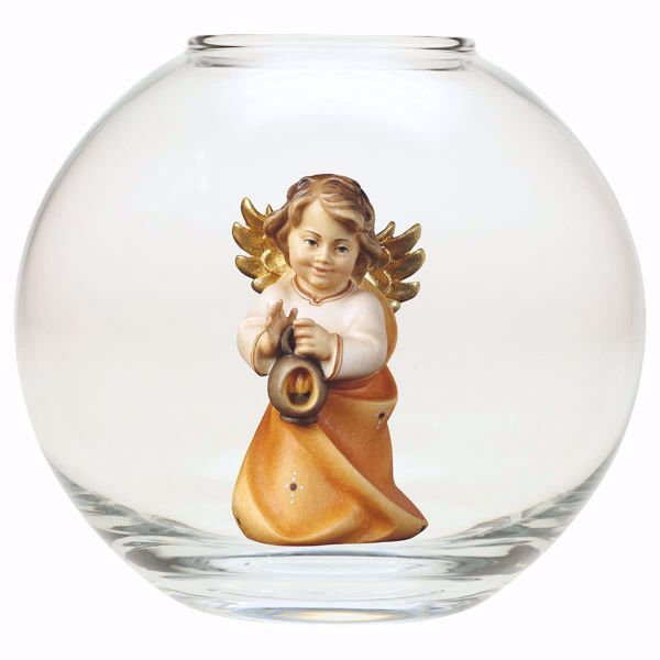 Picture of Guardian Angel with lantern in a Glass Ball Diam. cm 13 (5,1 inch) Val Gardena wooden Sculpture painted with oil colours
