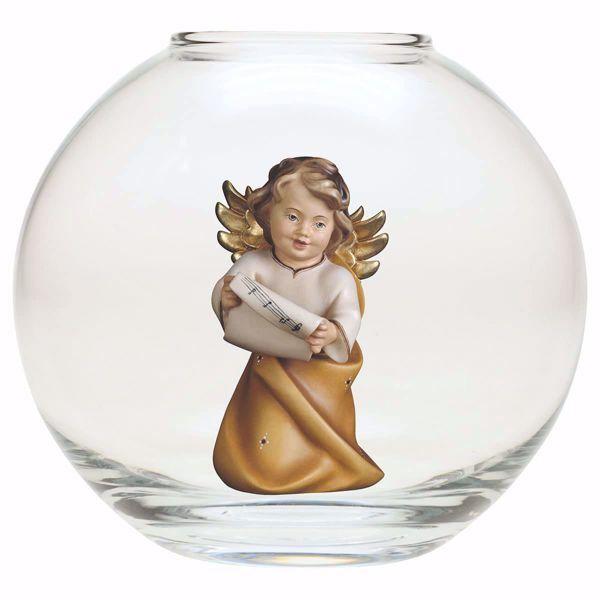 Imagen de Ángel de la Guarda con notas en una Bola de vidrio Diam. cm 13 (5,1 inch) Escultura en madera Val Gardena pintada al óleo