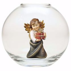 Picture of Guardian Angel with gift in a Glass Ball Diam. cm 13 (5,1 inch) Val Gardena wooden Sculpture painted with oil colours