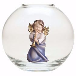 Picture of Guardian Angel with trombone in a Glass Ball Diam. cm 13 (5,1 inch) Val Gardena wooden Sculpture painted with oil colours