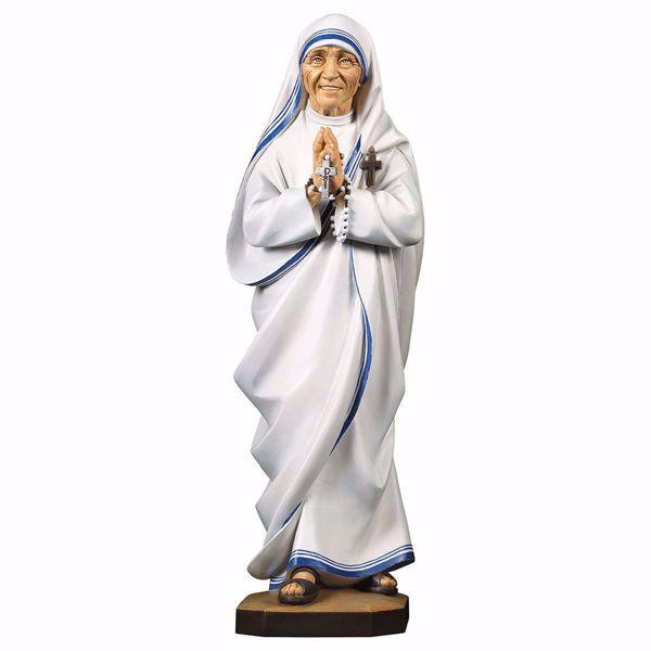 Immagine di Statua Santa Madre Teresa di Calcutta cm 12 (4,7 inch) dipinta ad olio in legno Val Gardena