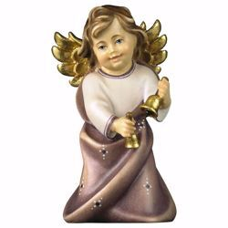 Picture of Guardian Angel with Bells cm 11 (4,3 inch) Val Gardena wooden Sculpture painted with oil colours