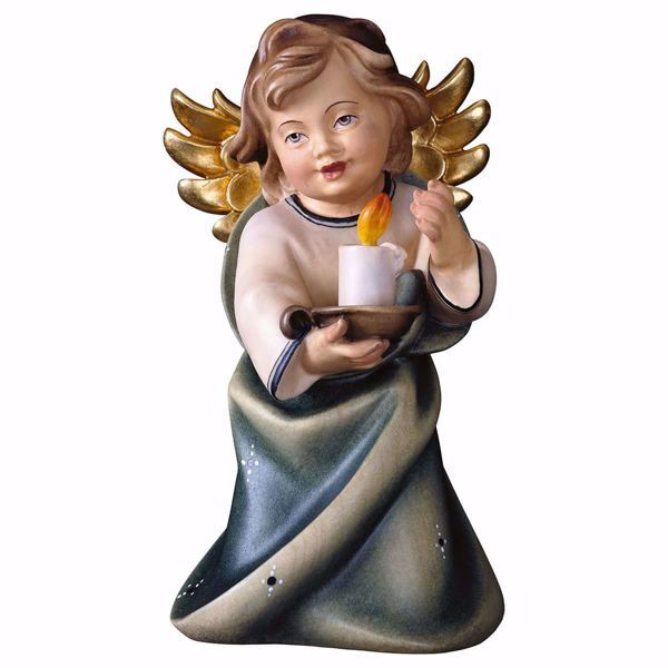 Immagine di Angelo Custode con candela cm 11 (4,3 inch) Scultura in legno Val Gardena dipinta ad olio