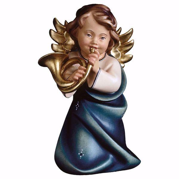 Immagine di Angelo Custode con corno cm 11 (4,3 inch) Scultura in legno Val Gardena dipinta ad olio