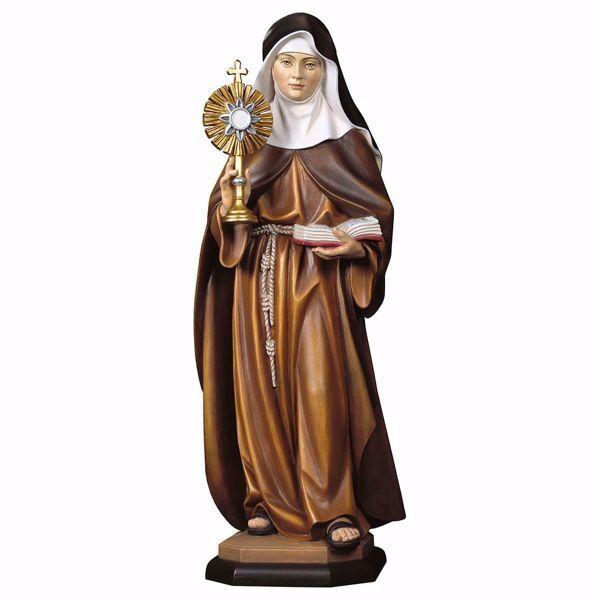 Immagine di Statua Santa Chiara d´Assisi con ostensorio cm 12 (4,7 inch) dipinta ad olio in legno Val Gardena