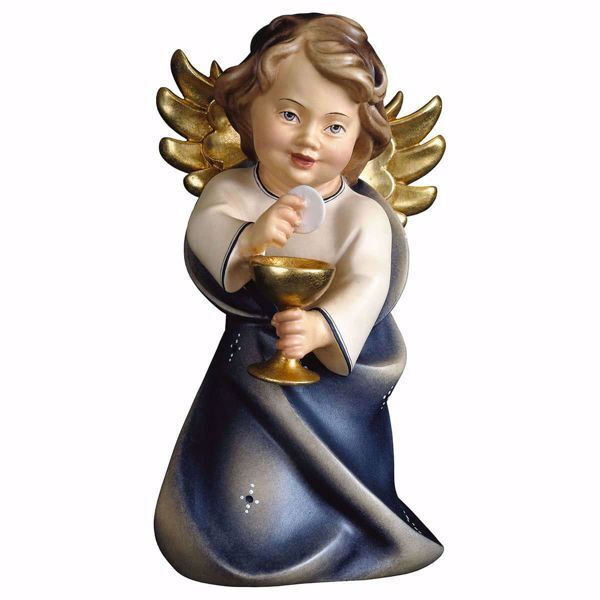 Picture of Guardian Angel with chalice cm 15 (5,9 inch) Val Gardena wooden Sculpture painted with oil colours
