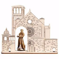 Picture of Saint Francis of Assisi with animals and Basilica wooden Statue cm 13,5x16,5 (5,3x6,5 inch) painted with oil colours Val Gardena