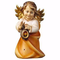 Picture of Guardian Angel with lantern cm 15 (5,9 inch) Val Gardena wooden Sculpture painted with oil colours