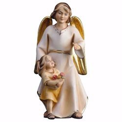 Picture of Modern Guardian Angel with girl cm 16 (6,3 inch) Val Gardena wooden Sculpture painted with oil colours