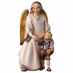 Picture of Modern Guardian Angel with boy cm 16 (6,3 inch) Val Gardena wooden Sculpture painted with oil colours
