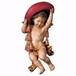 Picture of Putto Cherub Angel of the Cardinal cm 15 (5,9 inch) Val Gardena wooden Sculpture painted with oil colours