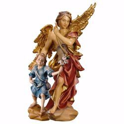 Picture of Guardian Angel with Child cm 10 (3,9 inch) Val Gardena wooden Sculpture painted with oil colours