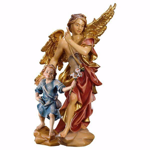 Imagen de Ángel de la Guarda con Niño cm 10 (3,9 inch) Escultura en madera Val Gardena pintada al óleo