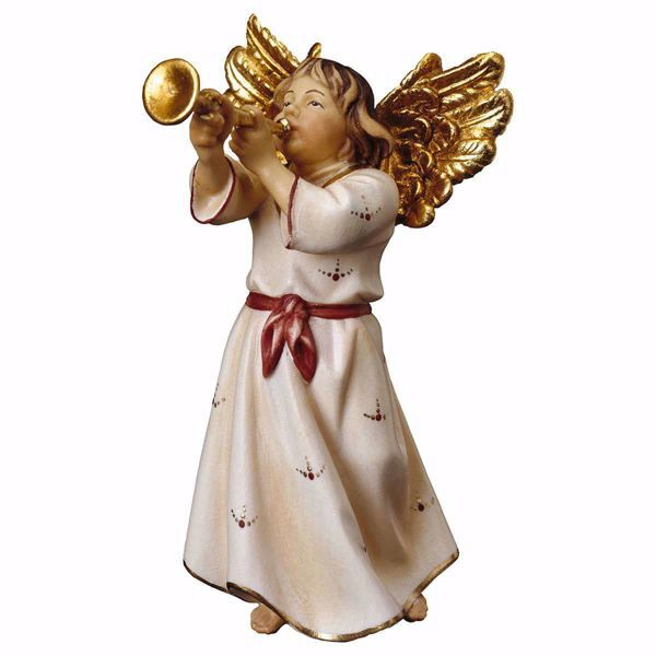 Picture of Angel with trumpet cm 15 (5,9 inch) Val Gardena wooden Sculpture painted with oil colours