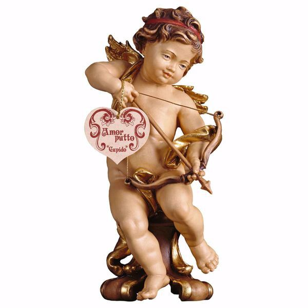 Picture of Putto Cherub Angel Cherub Angel Cupid on pedestal cm 15 (5,9 inch) Val Gardena wooden Sculpture painted with oil colours