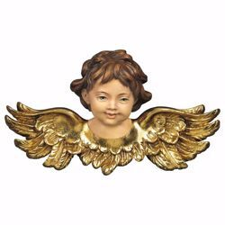 Picture of Angel head looking forward cm 15 (5,9 inch) Val Gardena wooden Sculpture painted with oil colours