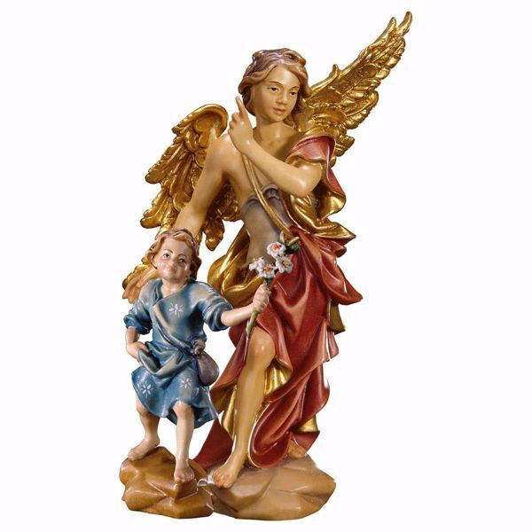 Picture of Guardian Angel with Child cm 12 (4,7 inch) Val Gardena wooden Sculpture painted with oil colours