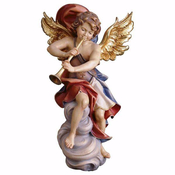 Imagen de Ángel en la nube con trombón cm 20 (7,9 inch) Escultura en madera Val Gardena pintada al óleo