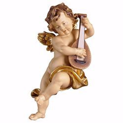 Picture of Putto Cherub Angel with lute cm 23 (9,1 inch) Val Gardena wooden Sculpture painted with oil colours