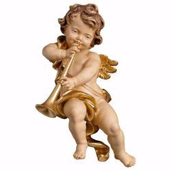 Picture of Putto Cherub Angel with trombone cm 23 (9,1 inch) Val Gardena wooden Sculpture painted with oil colours
