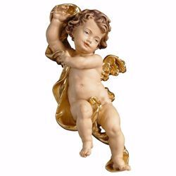 Picture of Putto Cherub Angel without band cm 23 (9,1 inch) Val Gardena wooden Sculpture painted with oil colours