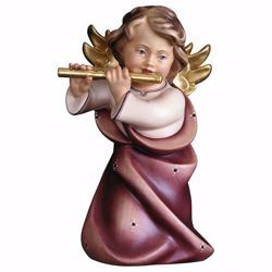 Picture of Guardian Angel with flute cm 23 (9,1 inch) Val Gardena wooden Sculpture painted with oil colours