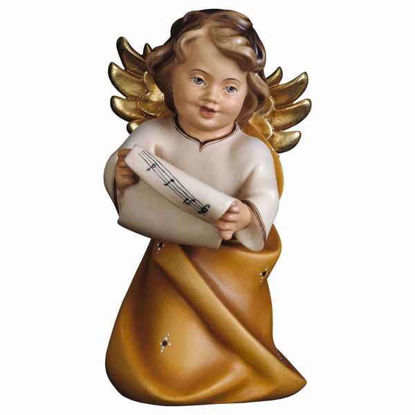 Picture of Guardian Angel with notes cm 23 (9,1 inch) Val Gardena wooden Sculpture painted with oil colours