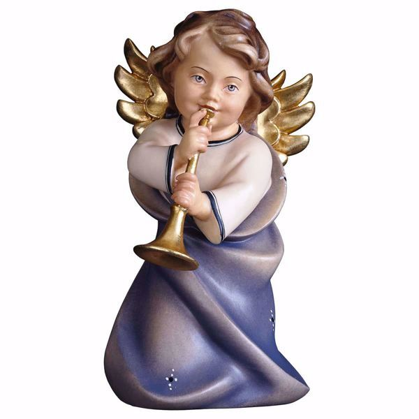 Picture of Guardian Angel with trombone cm 23 (9,1 inch) Val Gardena wooden Sculpture painted with oil colours
