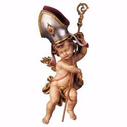 Picture of Putto Cherub Angel of the Bishop cm 23 (9,1 inch) Val Gardena wooden Sculpture painted with oil colours