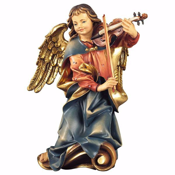 Picture of Choir Angel with violin cm 23 (9,1 inch) Val Gardena wooden Sculpture painted with oil colours