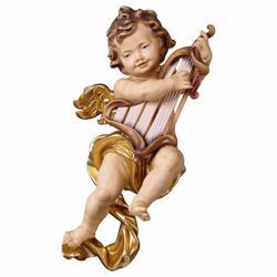 Picture of Putto Cherub Angel with harp cm 30 (11,8 inch) Val Gardena wooden Sculpture painted with oil colours