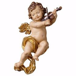 Picture of Putto Cherub Angel with violin cm 30 (11,8 inch) Val Gardena wooden Sculpture painted with oil colours