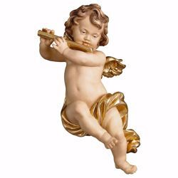 Picture of Putto Cherub Angel with flute cm 30 (11,8 inch) Val Gardena wooden Sculpture painted with oil colours