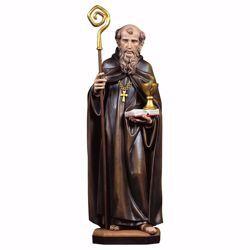 Immagine di Statua San Benedetto da Norcia con calice e serpente cm 18 (7,1 inch) dipinta ad olio in legno Val Gardena