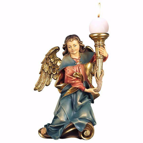 Immagine di Angelo musicante con candela destro cm 30 (11,8 inch) Scultura in legno Val Gardena dipinta ad olio