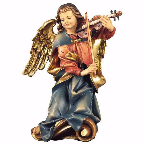 Imagen de Ángel del Coro con violín cm 30 (11,8 inch) Escultura en madera Val Gardena pintada al óleo