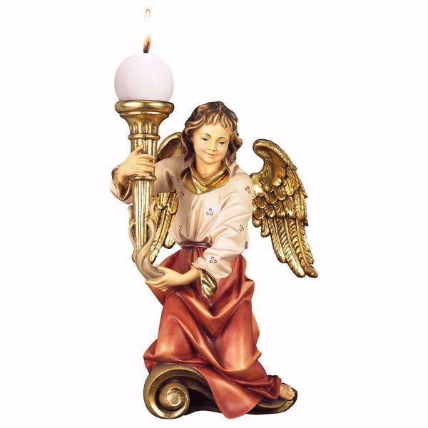 Imagen de Ángel del Coro con Vela izquierda cm 35 (13,8 inch) Escultura en madera Val Gardena pintada al óleo