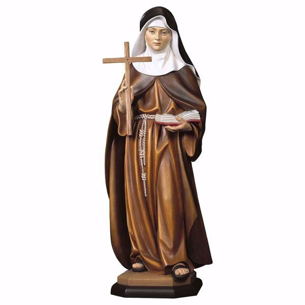 Immagine di Statua Beata Francesca Schervier con croce cm 180 (70,9 inch) dipinta ad olio in legno Val Gardena