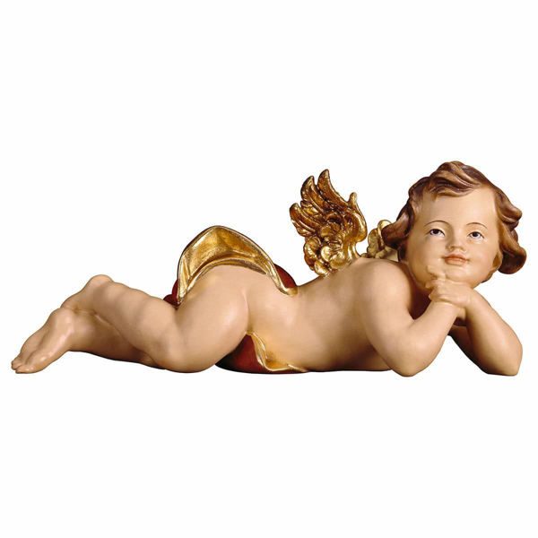 Picture of Putto Cherub Angel lying left cm 40 (15,7 inch) Val Gardena wooden Sculpture painted with oil colours
