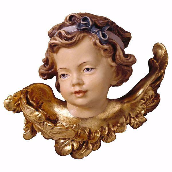 Imagen de Cabeza de ángel con foque derecho cm 30 (11,8 inch) Escultura en madera Val Gardena pintada al óleo