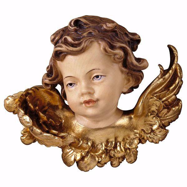 Imagen de Cabeza de ángel sin foque derecho cm 30 (11,8 inch) Escultura en madera Val Gardena pintada al óleo