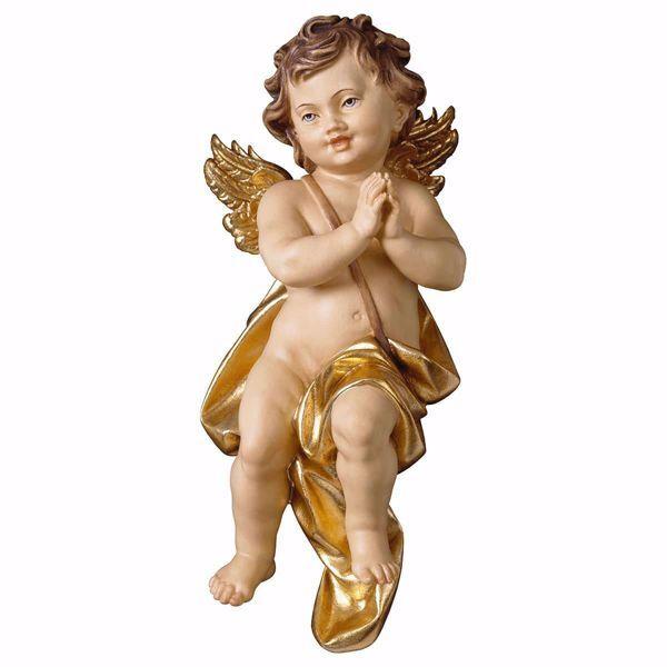 Imagen de Putto Ángel Querubín rezando cm 60 (23,6 inch) Escultura en madera Val Gardena pintada al óleo